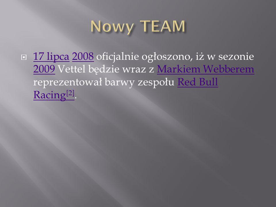 Nowy TEAM 17 lipca 2008 oficjalnie ogłoszono, iż w sezonie 2009 Vettel będzie wraz z Markiem Webberem reprezentował barwy zespołu Red Bull Racing[2].